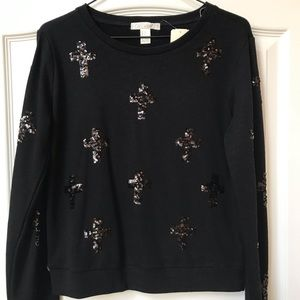 F21 Black sweatshirt  w/ black sequin crosses